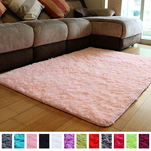 PAGISOFE Soft Girls Room Rug Baby Nursery Decor Kids Room Carpet 4' x 5.3',Pink