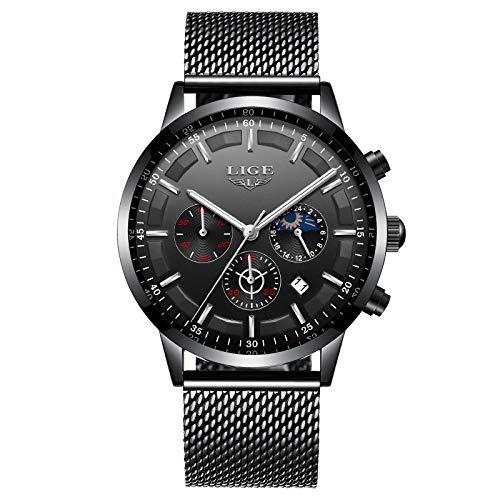 LIGE Herren Uhren Mode wasserdichte Chronograph Sport Quarz Uhr für Mann Business Kleid mit Schwarzem Edelstahlgewebe 9877k …