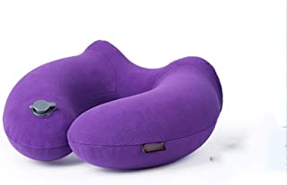 Inflatable U-Shaped Neck Pillow Portable Travel Neck Pillow Flying Pillow Neck Support U-Shaped Pad MJZDD (Color : Purple)