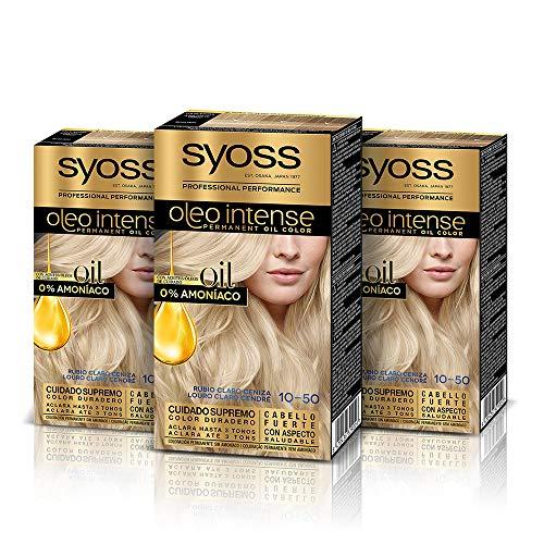 Syoss Oleo Intense - Tinte 10-50 Rubio Claro Ceniza – Coloración permanente Sin Amoníaco – Cobertura profesional de canas – Resultados de peluquería (Pack De 3)