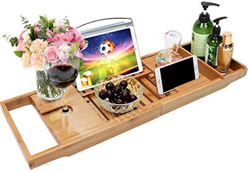 Bamboo Bathtub Caddy Tray Bathroom Bath Tub Tray with Extending Sides Built...