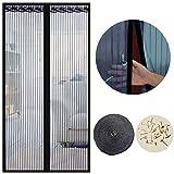 Cortina Mosquitera Magnética para Puertas, 120 x 220cm, Anti Insectos Moscas y Mosquitos, con Imanes Cierre Automático y Velcro Adhesiva, para Puertas Correderas/Balcones/Terraza(Negro)