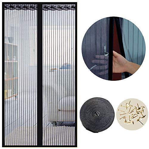 SUNJUN Cortina mosquiteras para puertas, 120 x 220cm, Anti insectos moscas y mosquitos, Con imanes cierre automático y, Para puertas correderas/balcones/terraza(Negro)