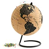 Globe Trekkers - Medium Cork Globe with 100 Colored Push Pins & Durable Steel Base - 7.3 Inches | Great for Mapping Travels & Educational Purposes | Does Not Have Plastic Strip Like Most -USA Outlined