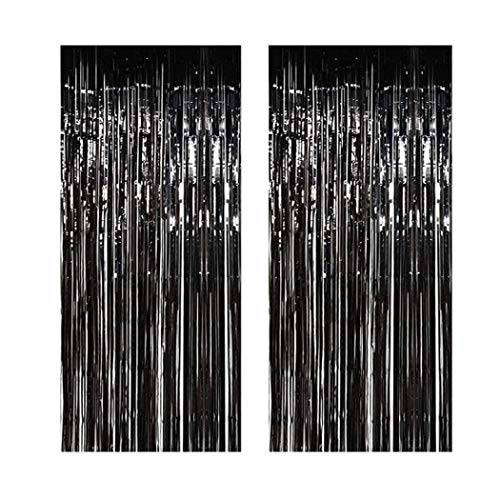 Muhome Black Foil Fringe Curtain, 2PCS 3.28FT x 8.2FT Metallic Tinsel Door Curtains Photo Booth Backdrop for Wedding Birthday Bridal Shower Baby Shower Bachelorette Christmas Party Decorations