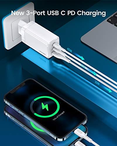 YOUSAMS USB C Ladegerät, 65W Mehrfach (3 Ports) USB Netzteil, 2 USB C + 1 USB A-Anschlüssen für MacBook Pro/Air, iPad, iPhone 12/11/Pro/Pro Max, Samsung, Xiaomi, Huawei, Nintendo Switch und mehr
