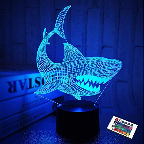 3D Illusion Shark Night Lights Shark Bedside Lamp 16 Colors Remote Control Animal Touch Desk Night Lamp for Kids Baby Christmas Birthday Gifts,E