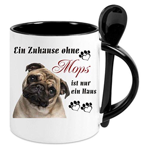 Creativ Deluxe Kaffeetasse m. Löffel - EIN Zuhause ohne MOPS. - Kaffeetasse mit Motiv, Bedruckte Tasse mit Sprüchen o. Bildern - auch indiv. Gestaltung nach Kundenwunsch