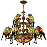 Tiffany Style Chandelier European Retro Parrot Design Stained Glass Pendant Lights Creative Crystal Hanging Ceiling Lamp for Living Room Dining Room Bedroom,A