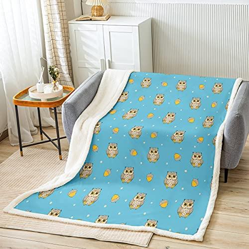 Homemissing Manta de forro polar para niños, diseño de búho, boho, para niños, niñas, lindos puntos borrosos, para sofá cama, animal salvaje, azul, individual 126 x 152 cm