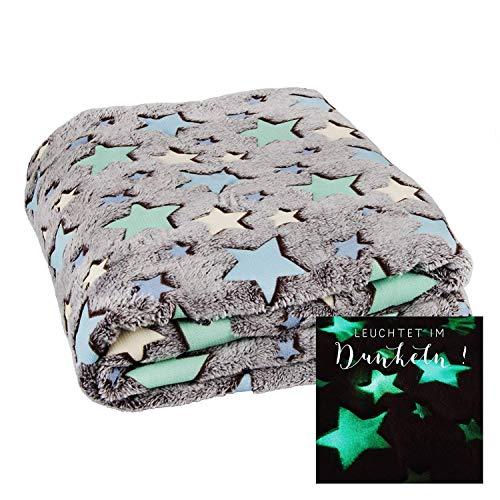 LC Kuscheldecke mit LEUCHTENDEN Sternen FILANTE | Decke 160x130cm Einhorn Stern Krabbeldecke (Sterne)