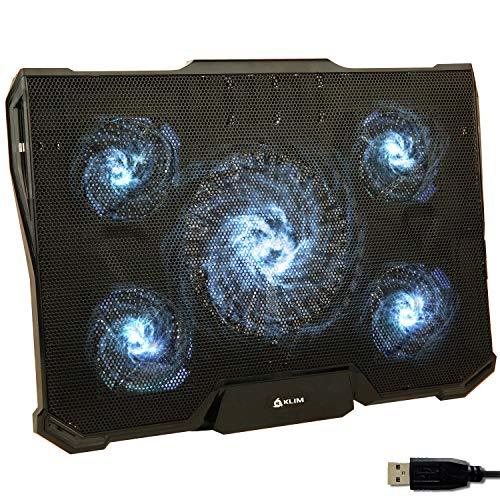 KLIM Cyclone - Laptop Kühler + Ständer + Maximale Kühlung + Verhindere Überhitzung + Schütze Dein Laptop + 5 Lüfter 2200 & 1200 RPM + Cooling Pad für Computer PS4 Xbox One + Weiß Neue 2021 Version