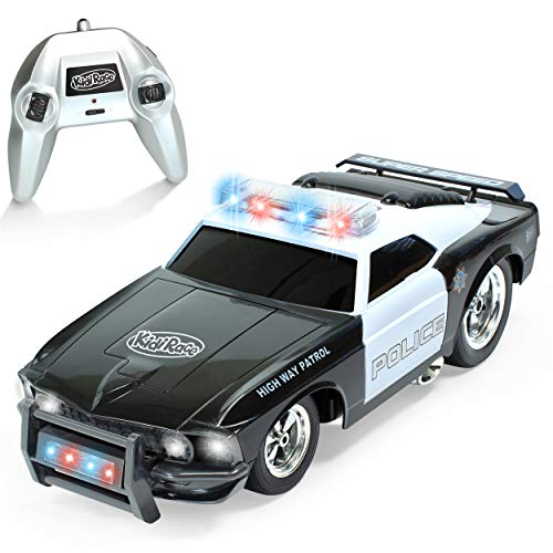 KidiRace Remote Control Police Car with Flashing Lights & Sounds – 2.4GHz RC Cop Car for Boys and Girls Ages 3+