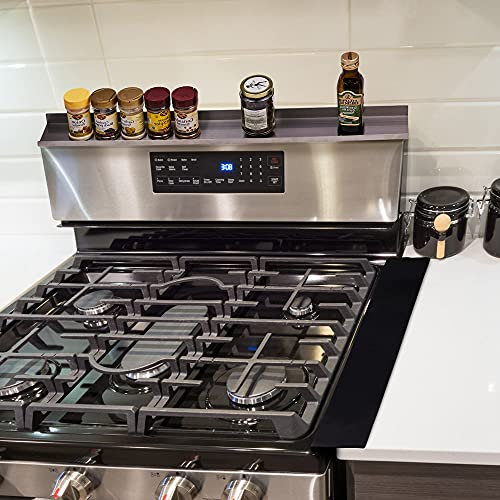 COMBO DEAL The Stove Top Instant Spice Rack Shelf And Counter Gap Cover - Heavy Duty 2 X stronger Stainless Steel Magnetic Shelf For Over The Top Of The Stove 30 Inches Long 2 FREE COUNTER GAP COVERS
