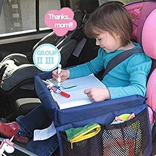 Dark Blue Car Seat Trays with Dry Erase Top 8 Mesh Pockets LBLA Snack and Play Travel Tray for kids 5 colorful Drawing Papers Child Play Activity Tray for Car//Stroller//Plane