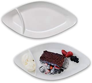 Dinnerware Set of 2 Divided Plates for Hotdog or Dessert – Porcelain Stoneware in Grey and White, Mix & Match our entire alfresco ceramic range for stylish backyard BBQ or outdoor parties