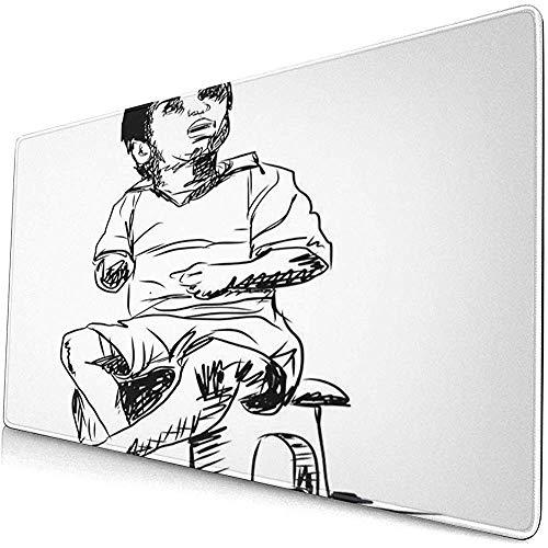 Gaming Extended Mouse Pads mit Rutschfester Gummibasis Zeichnungsskizze Kindersitz auf Hocker und nach Oben 30X80 cm