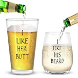 I Like His Beard, I Like Her Butt Funny Wine Glass Set for Couples- Unique Wedding Gift For Bride and Groom - His and Hers Anniversary Present Husband and Wife - Engagement Gifts For Him and Her