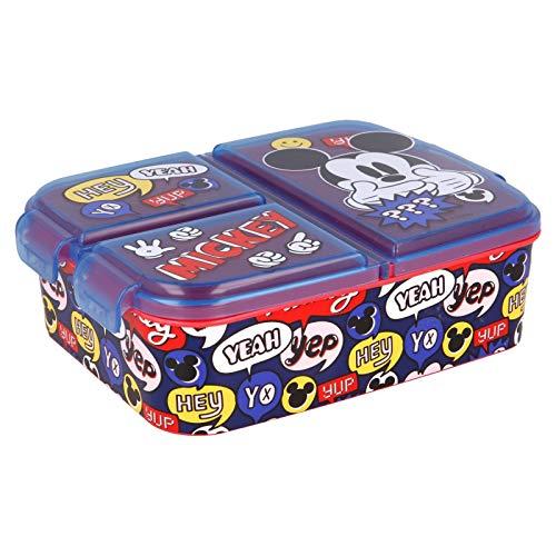 Stor Mickey Mouse | Caja de Almuerzo con 3 Compartimentos - Fiambrera Infantil para Colegio - lonchera para niños