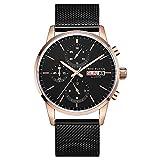 MHCYKJ - Reloj de pulsera para hombre con cronógrafo de cuarzo, clásico, malla de pernos impermeable, diseño de manos brillantes, color dorado