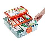 GAXQFEI Caja de Primeros Auxilios Multi-Bandeja, Contenedores de Almacenamiento Médico Plástico, Caso de Medicina de Emergencia, con Asa,Azul,39.5 * 21.5 * 28.5Cm