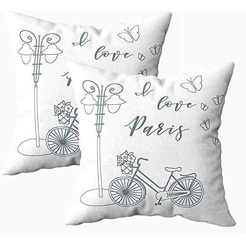 koniqiwa Kissen, quadratische Kissenbezüge Fahrradkorb Blumen Laterne Schmetterlinge Die Inschrift Liebe Paris Reise Freizeit I