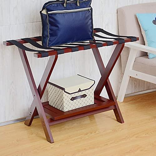 Hotel in Legno massello portabagagli, Pieghevole Multifunzione Bagagli Portafogli Rack per la Valigia 80 * 45 * 60 cm (Color : Red)