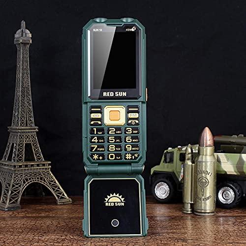 H10 2.4 Pulgadas Power Bank 1800mAh FM Conjuración Voz 4 SIMULACIÓN Tarjetas 4 en Espera Resistente Flick de Funciones de teléfono 0909 (Color : Green)