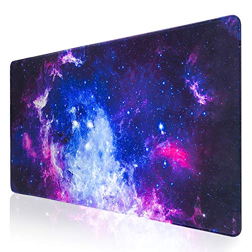 Large Gaming Mouse Pad,QOMOLAMA XXL Extended Keyboard and Mouse Pad (31.5x15.7 inch),Desk Mousepad Computer Keyboard Mat with Stitched Edges for Gamer,Non-Slip Base,Office & Home,Galaxy