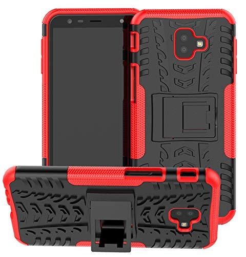 Yiakeng Funda Galaxy J6 Plus,Galaxy J4 Plus Carcasa, Silicona a Prueba de Choques Soltar Protector con Kickstand Case para Samsung Galaxy J6/J4 Plus (Rojo)