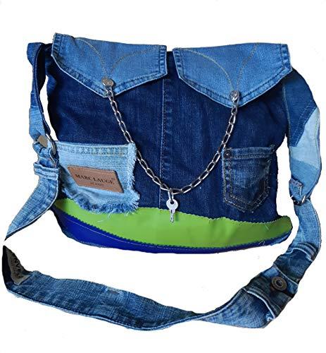 Handmade Boho Upcycling Damen Jeans Handtasche Unikat Leder Recycle Woman Bag Einzelstück handgenähte Tasche Bohemian