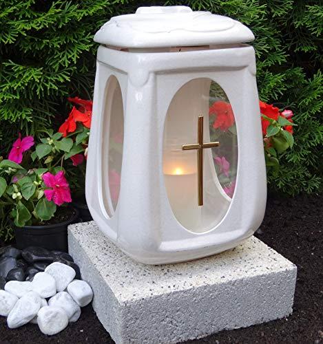 ♥ Grablampe mit Sockel und Grabkerze Weiß 26,0cm Grabschmuck Grablaterne Grableuchte Grablicht Laterne Kerze Licht Lampe Anröchter