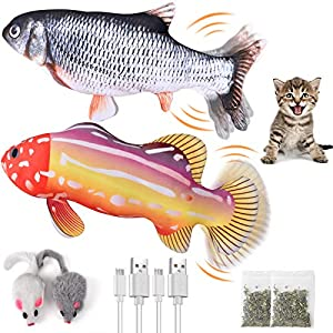 Covertsafe 2Pack Catnip Toys, Fish Cat Toys for Indoor Cats Interactive Moving Flippity Fish Cat Toy Fit Puppy – Cats Nip Kitten and Small Dog Toys