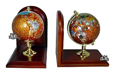 Unique Art 7-Inch Tall Pair of Amberlite Swirl Pearl Ocean Gemstone World Globe Bookends from American Dwelling Group, Inc