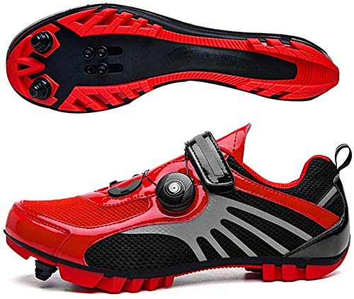 KUXUAN MTB SPD Cycling Shoes For Men Women Ideal For Mountain Bikes XC Cyclocross Bikes Included,Red-43EU