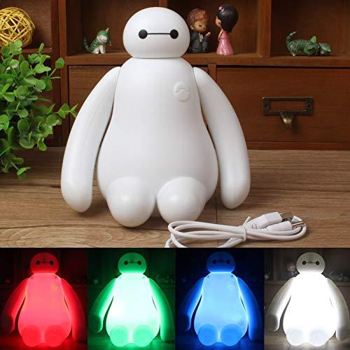 Luz de noche Creative New Big Hero Cute Cartoon Baymax LED USB de carga Luz de noche Lámpara de dormitorio Regalo de niños Lámpara de noche Niños