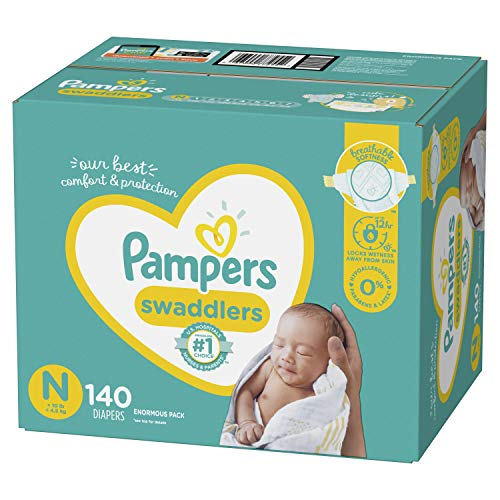 Diapers Newborn/Size 0 ( 10 lb), 140 Count - Pampers Swaddlers Disposable Baby Diapers, Enormous Pack