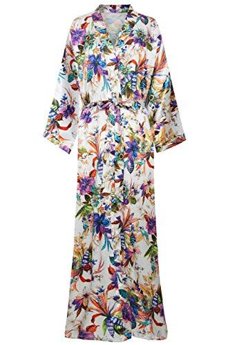 ArtiDeco - Bata larga de seda para mujer, estilo kimono, con estampado de flores, albornoz para mujer, largo 135 cm de largo Verano. Tallaúnica