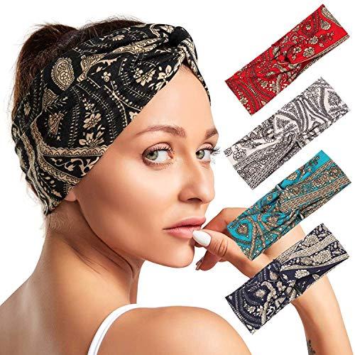 Paquet de 4 Femmes Head Band Boho Style Floral Bandeaux Élastiques Bandeau Accessoires pour Cheveux