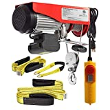 (Bundle Items) Partsam 880 lbs Lift Electric Hoist Crane Remote Control Overhead Crane Garage Ceiling Pulley Winch Bundled with Towing Strap 5.5Feet x 2inch (w/Emergency Stop Switch)