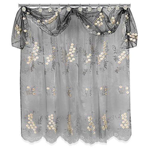 Popular Bath Sheer SC with Valance Bloomfield, Shower Curtain, Grey
