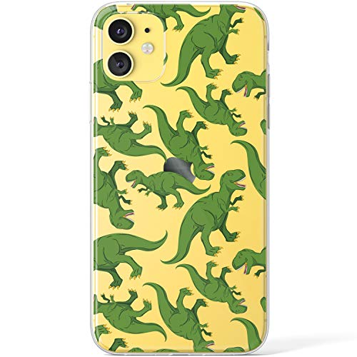 Mertak Clear Case Compatible with iPhone 12 Pro Max Mini 11 SE 10 Xr Xs 8 Plus 7 6s 5s Trex TPU Cover Women Green Design Lightweight Cute Dinosaur Cartoon Flexible Slim Kids Silicone Girls Protective
