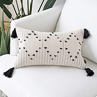 NVEOP Soft Lumbar Decorative Knitted Throw Pillow Cover with Tassels, Perfect for Couch Sofa Bedroom Living Room, Cute Rec...