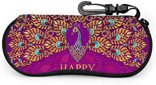 Happy Diwali Festival Card con oro pavo real Patte Girl Sunglass caso niños Sunglass caso ligero portátil neopreno cremallera suave caso caso niños gafas de sol caso