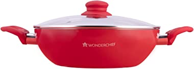 Wonderchef Royal Velvet Non-Stick Wok with Lid, Induction Bottom, Soft-Touch Handle, Virgin Grade Aluminium, PFOA/Heavy Metal