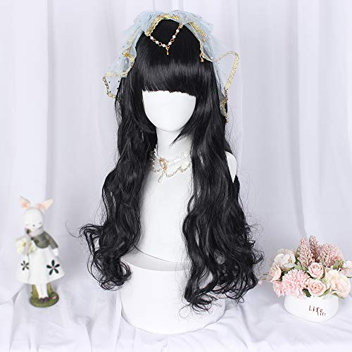 Black Long Wavy Wig Anime Cosplay Halloween Daily Party Women Hair With Bangs Fringe Hairstyles