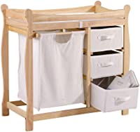 QIAOWW-Changing Tables Baby Diaper Table Multifunctional Solid Wood Paint-Free Baby Touch Massage Bathing Clothes Storage Care Table