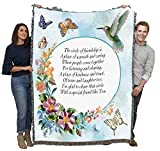 Circle of Friendship Poem - Blanket Throw Woven from Cotton - Made in The USA (72x54)