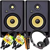 KRK Pair RP7 Rokit G4 Professional Bi-Amp 7' Powered Studio Monitor Black with HD Headphone and EMB XLR Cable and Extra Bundle M