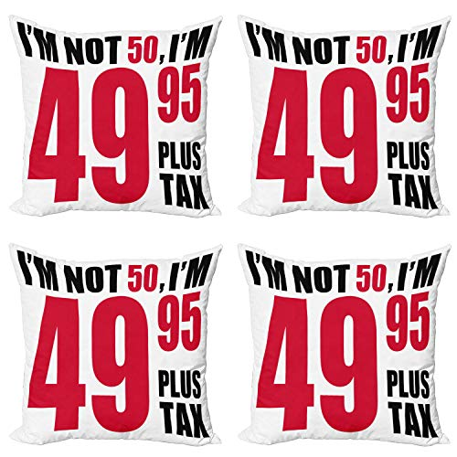 ABAKUHAUS 50 cumpleaños Set de 4 Fundas para Cojín, Frase hilarante, Estampado Digital en Ambos Lados y Cremallera, 45 cm x 45 cm, Rojo Negro Blanco